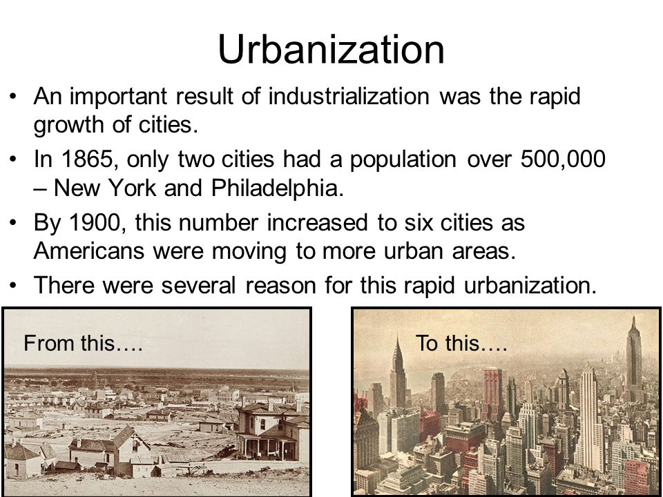 The urbanization development of american cities between the 1865 and 1900
