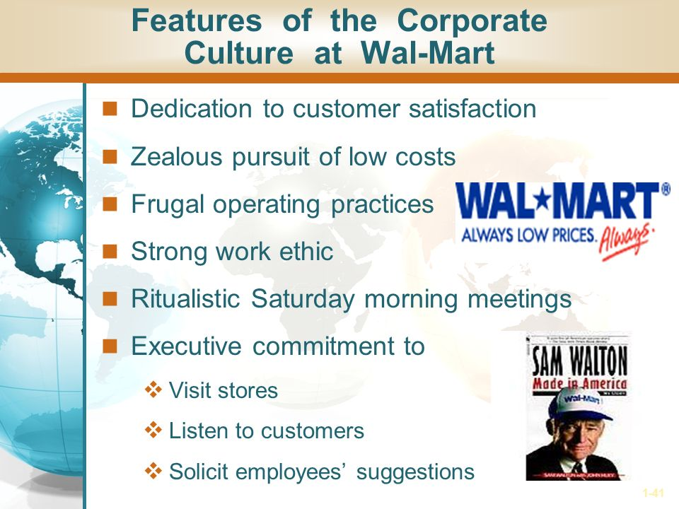 wal mart organizational control culture strategy implementation Name: course: tutor: date: organizational development since wal-mart opened, its first store in 1962 in arkansas with a mission to bring priced quality products to.