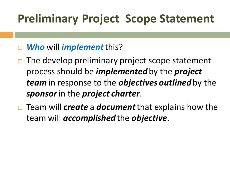 describe the philosophy methodology purpose of a project charter and a scope statement The scope statement the scope of a project is the clear identification of the work that  you'll need to define project scope no matter what methodology you.