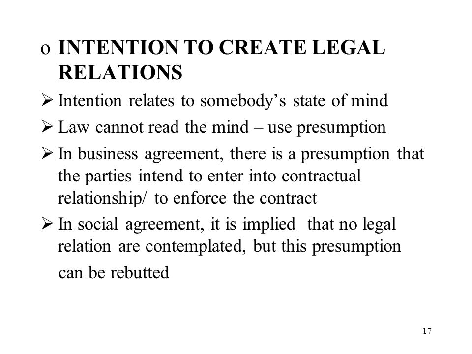 definition intention to create legal relationship