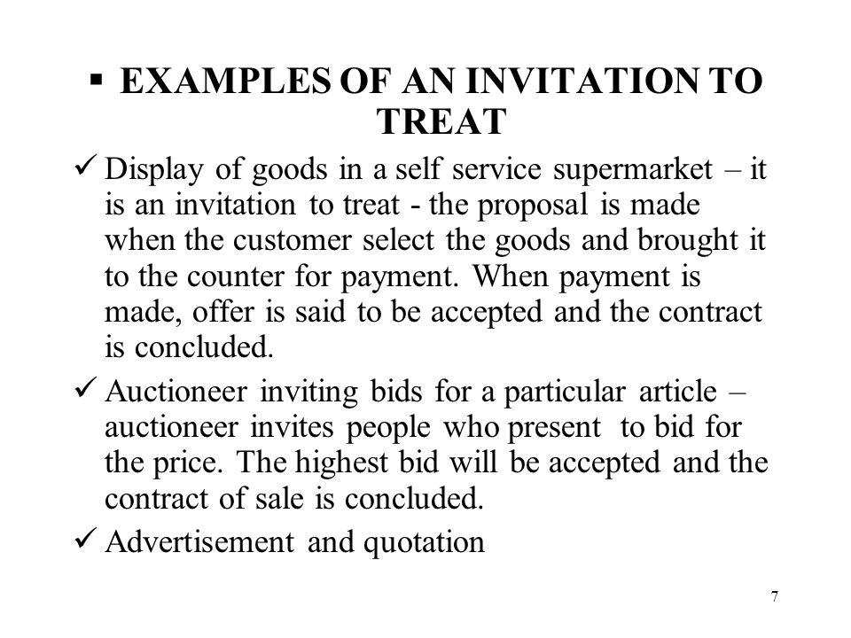 Contract law: invitations to treat (1)