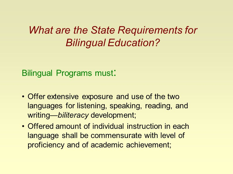 Bilingual Education and English as a Second Language ...