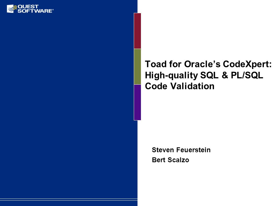 Toad for Oracle's CodeXpert: High-quality SQL & PL/SQL Code