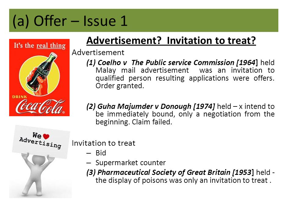 Difference Between Offer and Invitation to Offer (Treat)