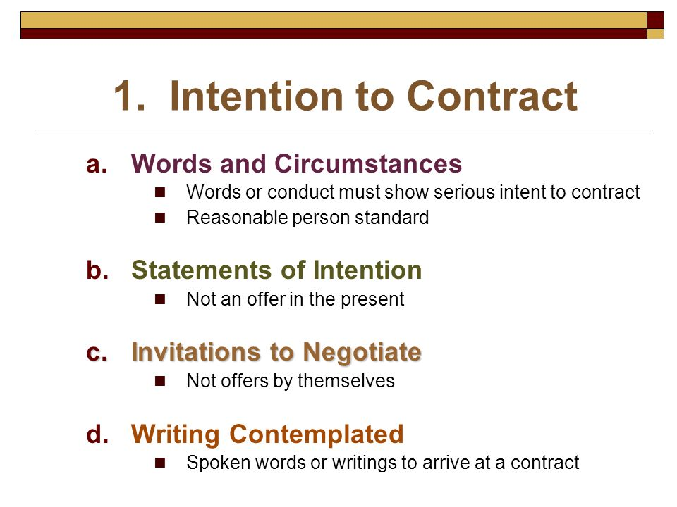 1. Intention to Contract Words and Circumstances