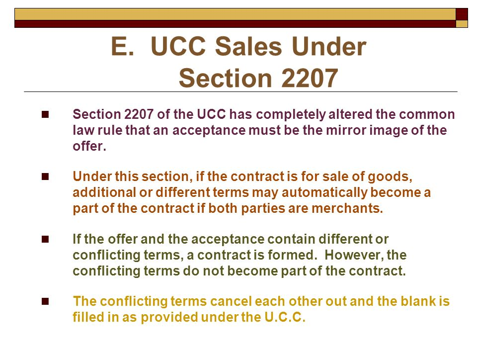 UCC Sales Under Section 2207