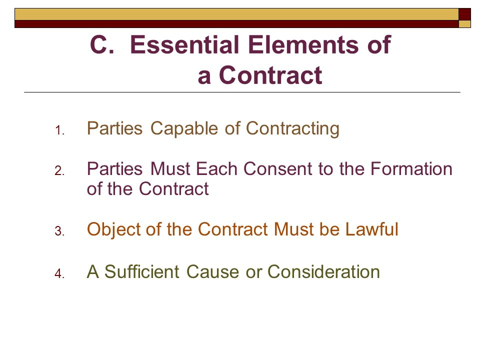 Contracts Concepts Terms And The Agreement  Ppt Video Online
