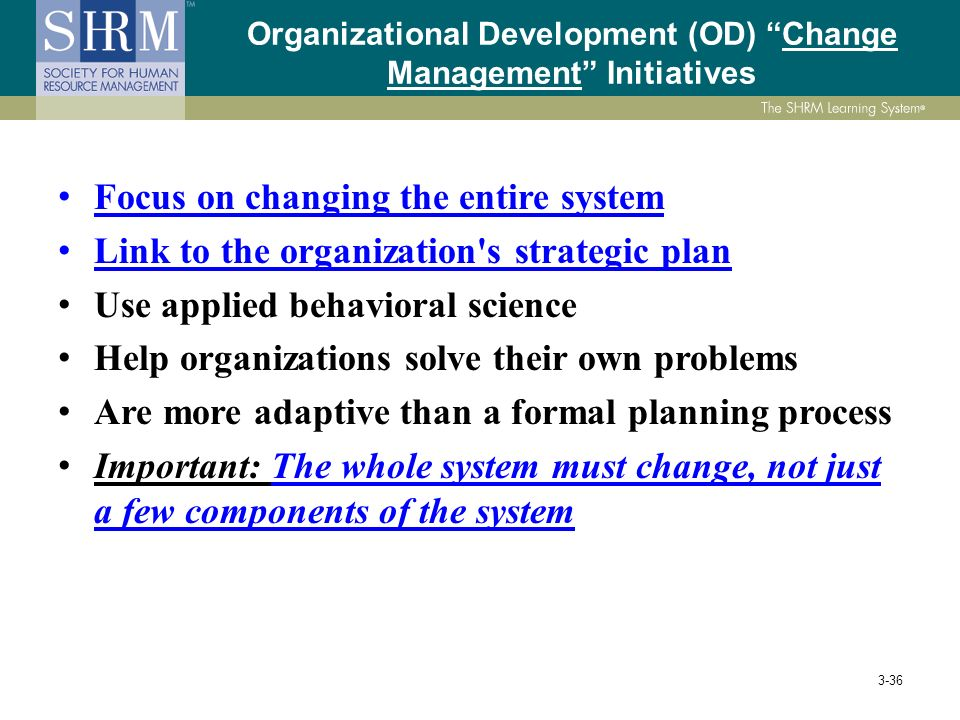 Change management and system development in