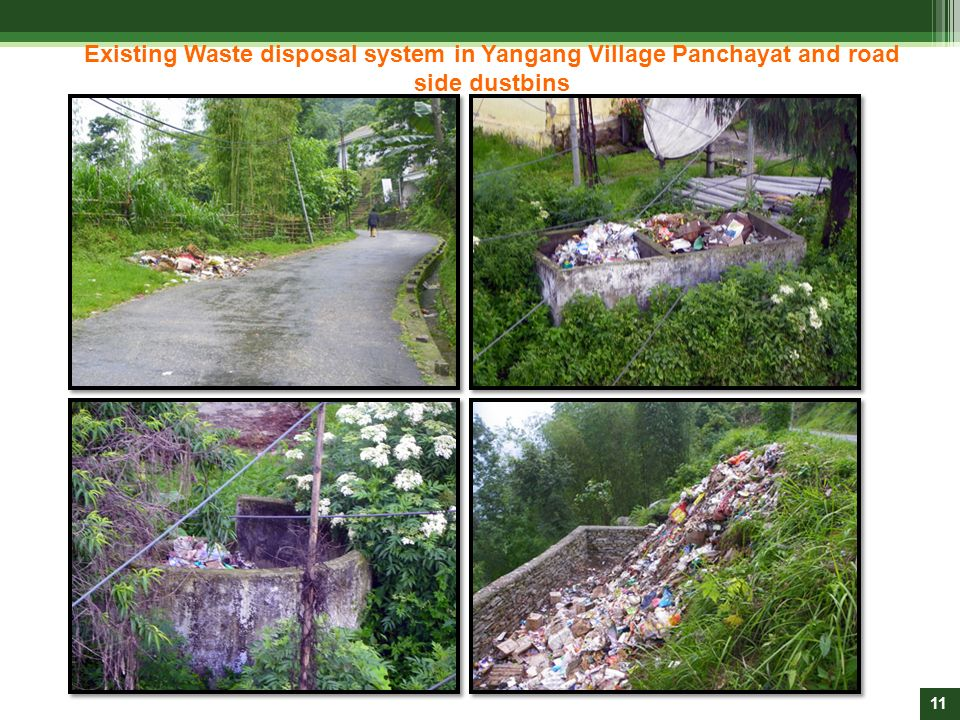 Existing Waste disposal system in Yangang Village Panchayat and road side dustbins