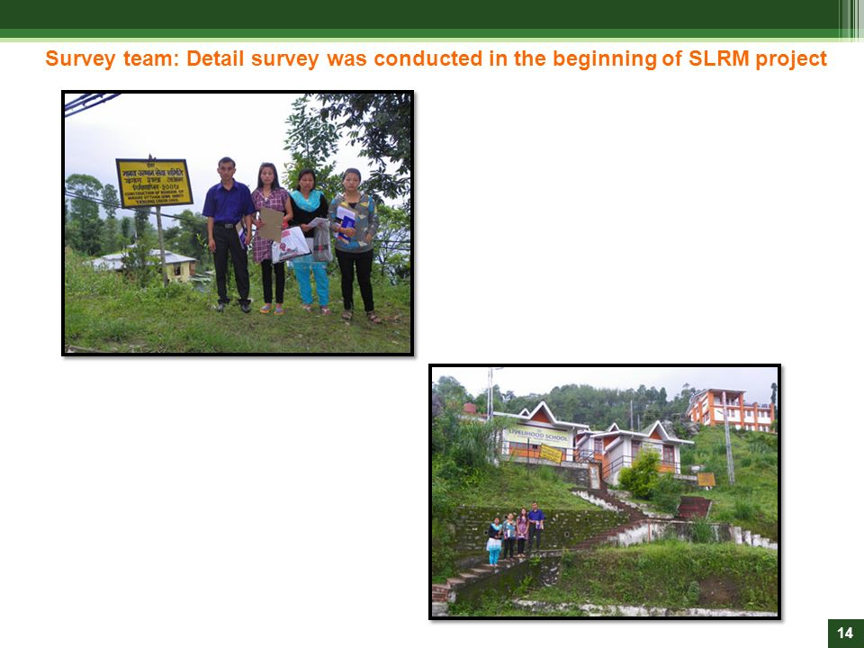 Survey team: Detail survey was conducted in the beginning of SLRM project