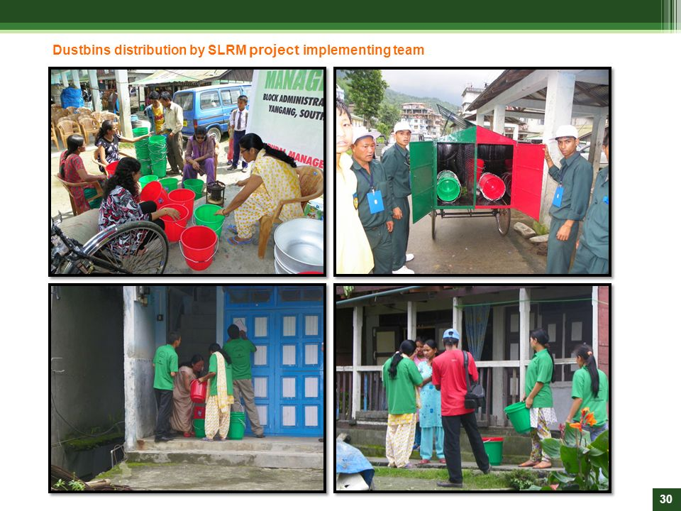 Dustbins distribution by SLRM project implementing team