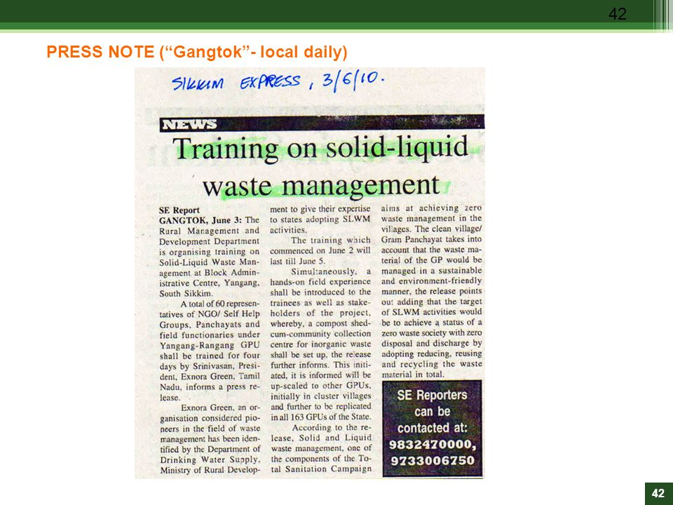 PRESS NOTE ( Gangtok - local daily)