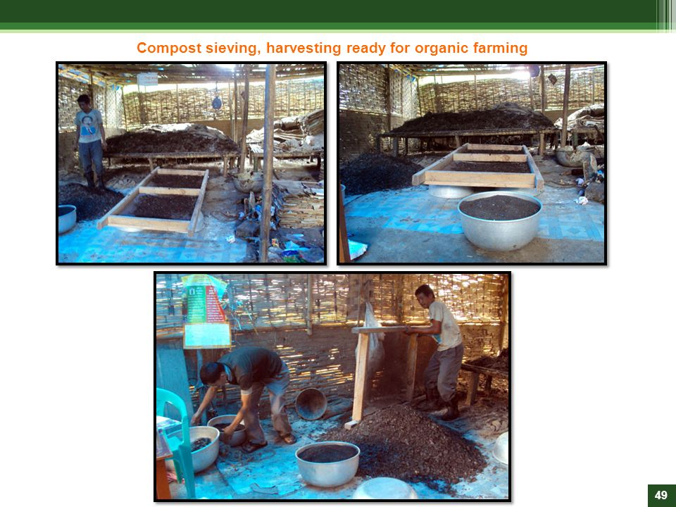 Compost sieving, harvesting ready for organic farming