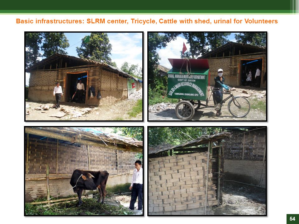 Basic infrastructures: SLRM center, Tricycle, Cattle with shed, urinal for Volunteers