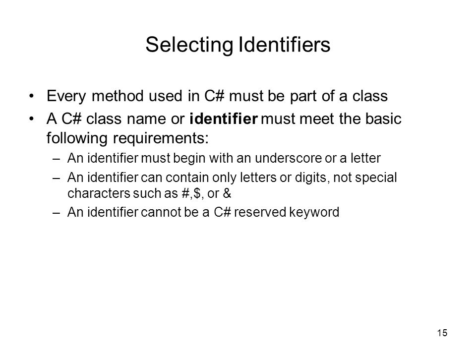 Selecting Identifiers