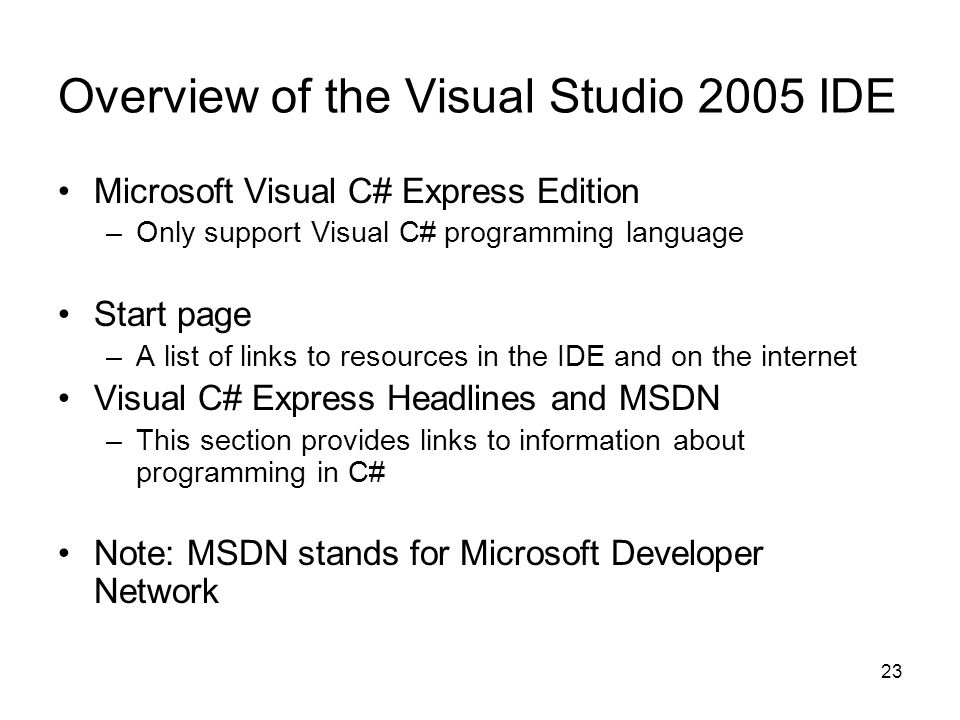 Overview of the Visual Studio 2005 IDE