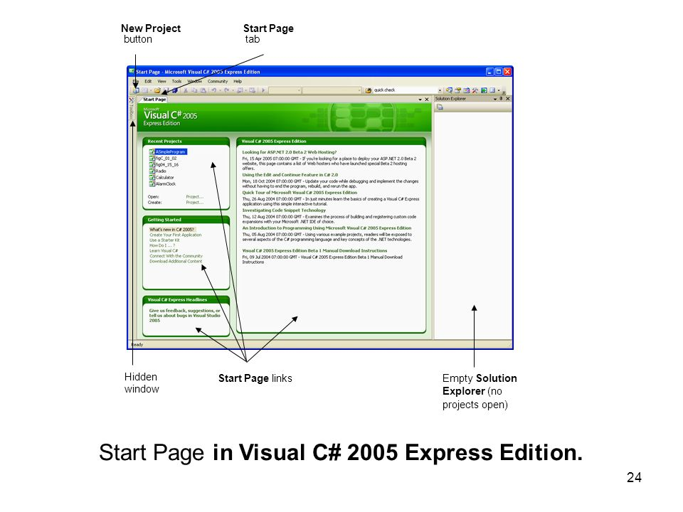 Start Page in Visual C# 2005 Express Edition.