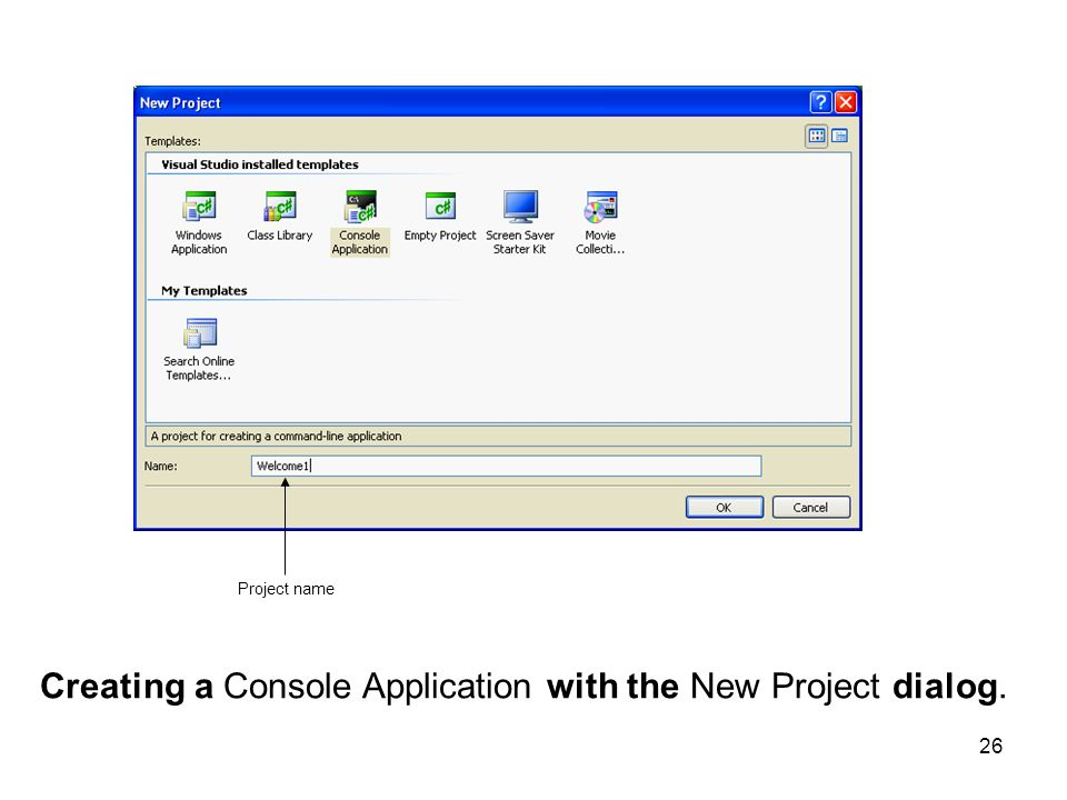 Creating a Console Application with the New Project dialog.