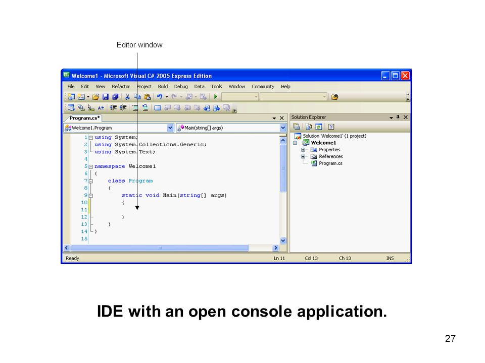 IDE with an open console application.