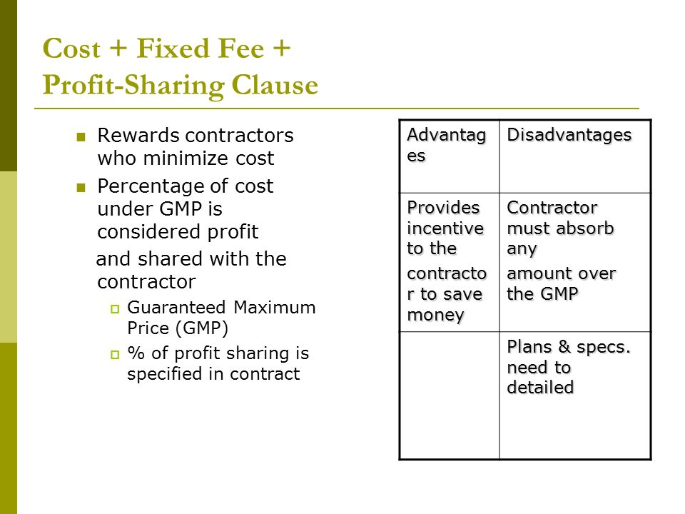 Construction contracts docuements ppt download for Fixed price construction contract