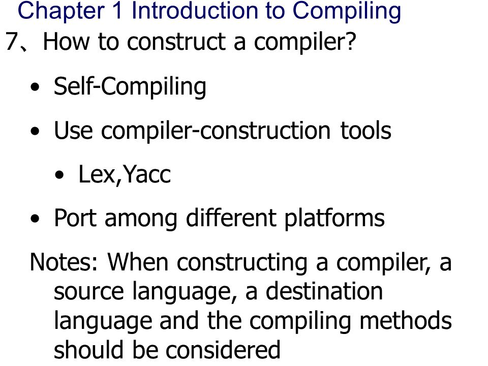 compiler construction tools – 3 – cs4173 compiler construction tools though there are many compiler construction tools (most of them are free), the de facto industry standard tools are:.