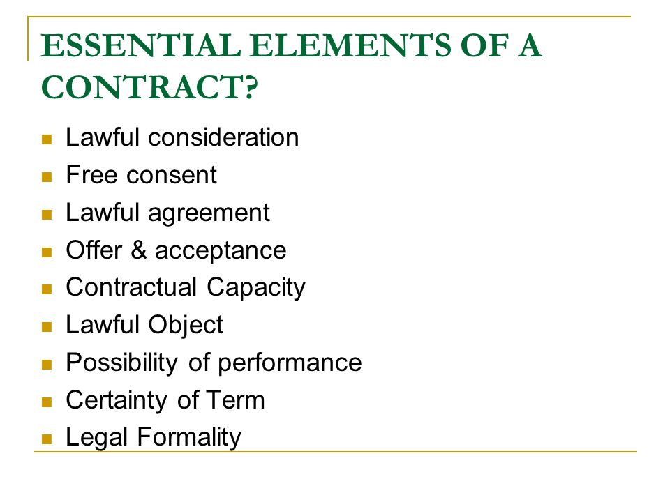 essential elements of law