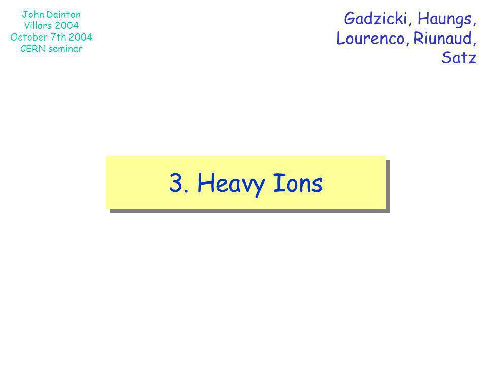 Gadzicki, Haungs, Lourenco, Riunaud, Satz 3. Heavy Ions
