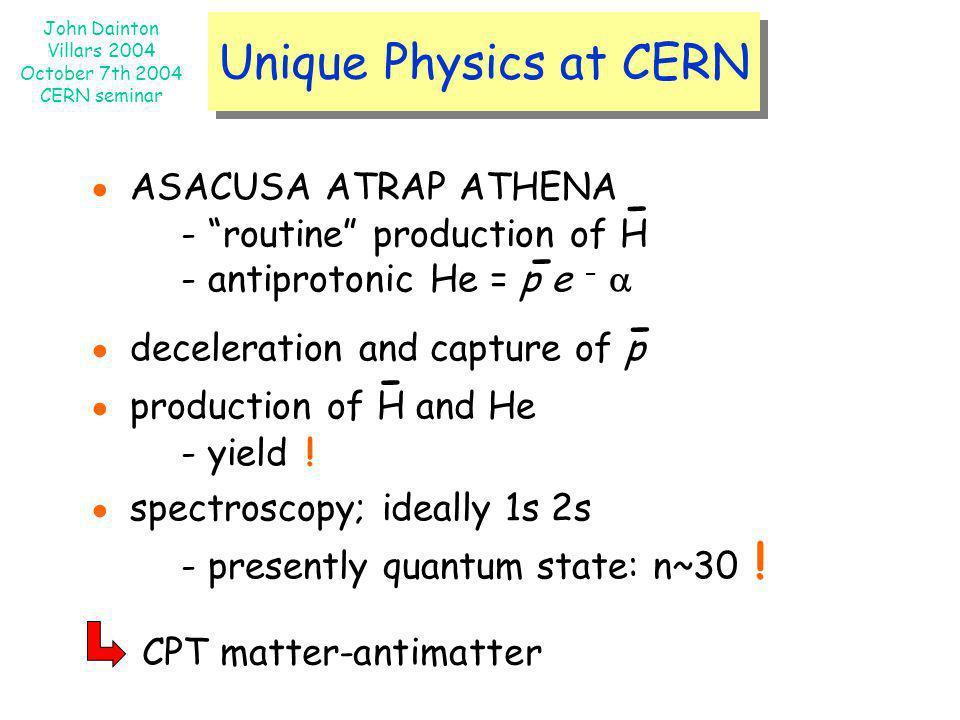 - - - - Unique Physics at CERN ● ASACUSA ATRAP ATHENA