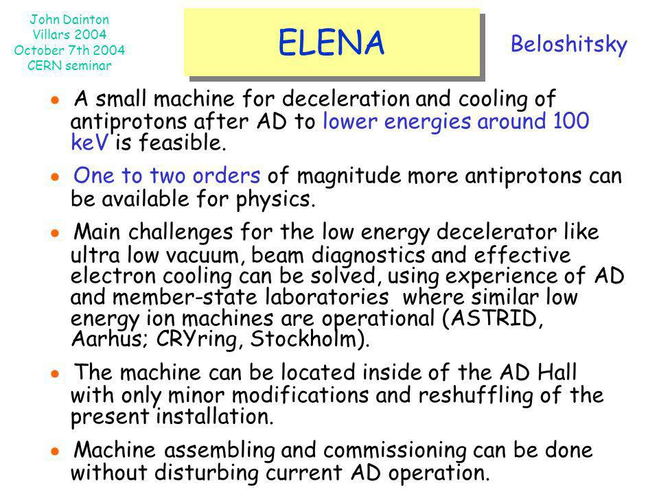ELENA Beloshitsky. ● A small machine for deceleration and cooling of antiprotons after AD to lower energies around 100 keV is feasible.