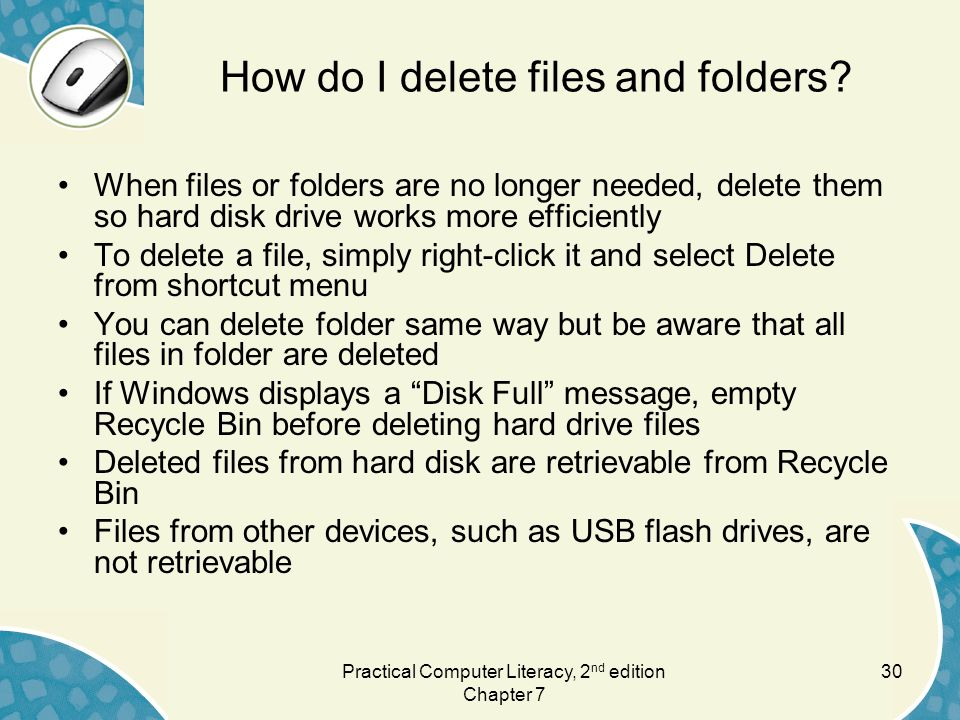 How do I delete files and folders