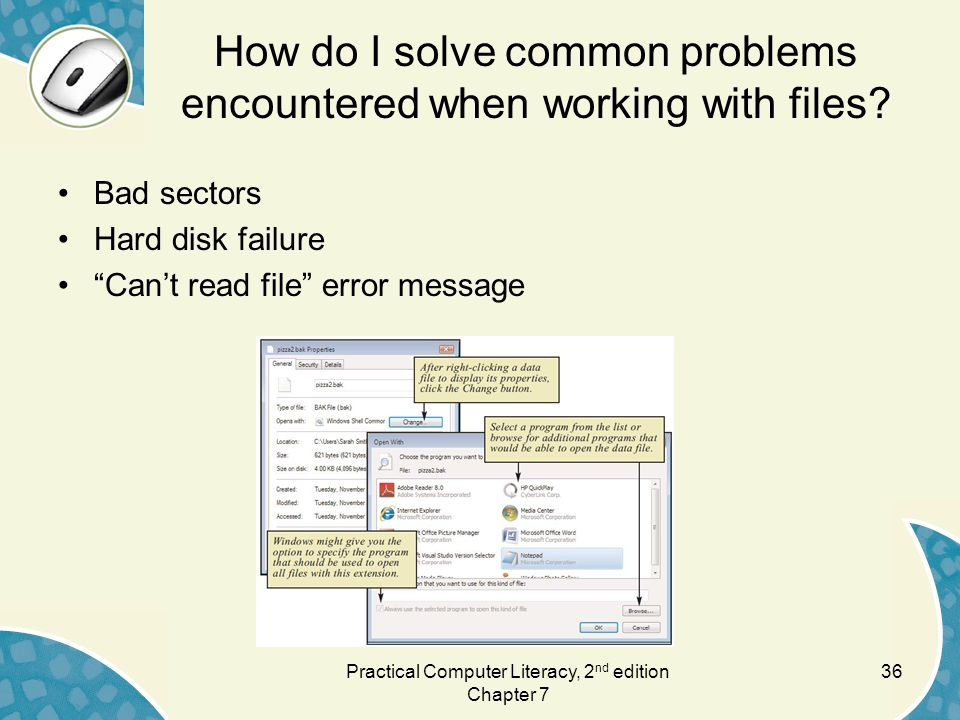 How do I solve common problems encountered when working with files