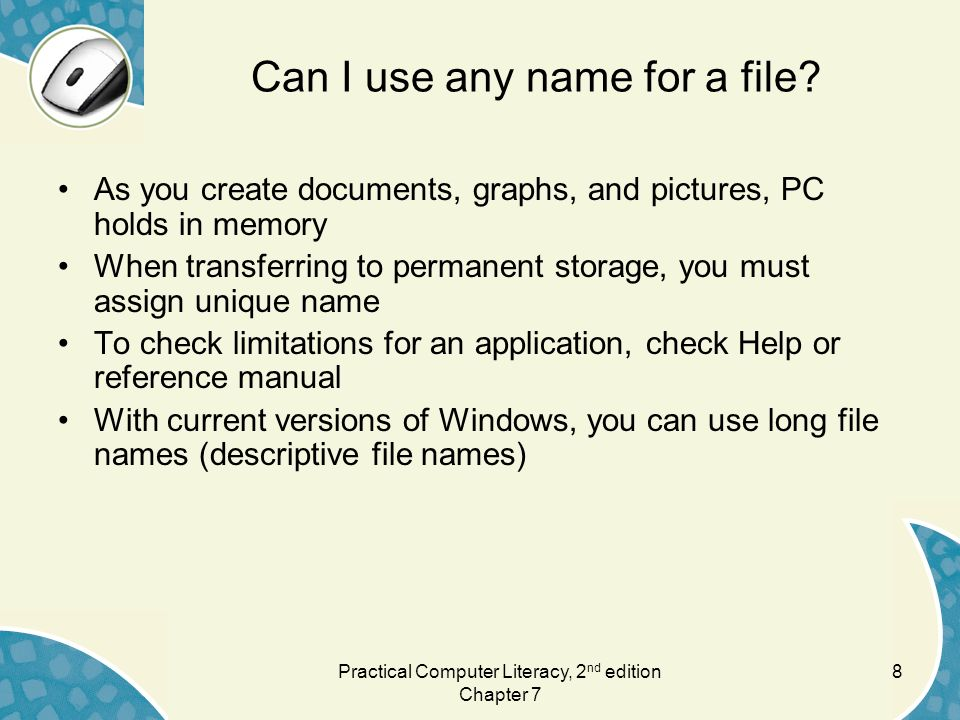 Can I use any name for a file