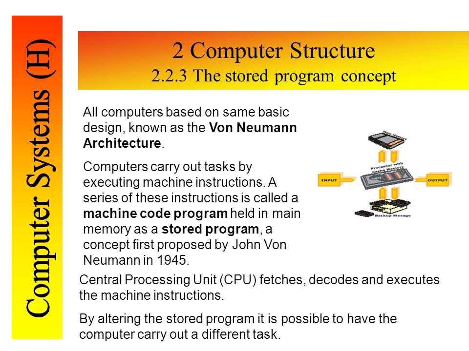 computer machines applying the stored program A stored-program computer is a computer that stores program instructions in  electronic memory this contrasts with machines where the program instructions  are stored on  text is available under the creative commons attribution- sharealike license additional terms may apply by using this site, you agree to  the terms of.