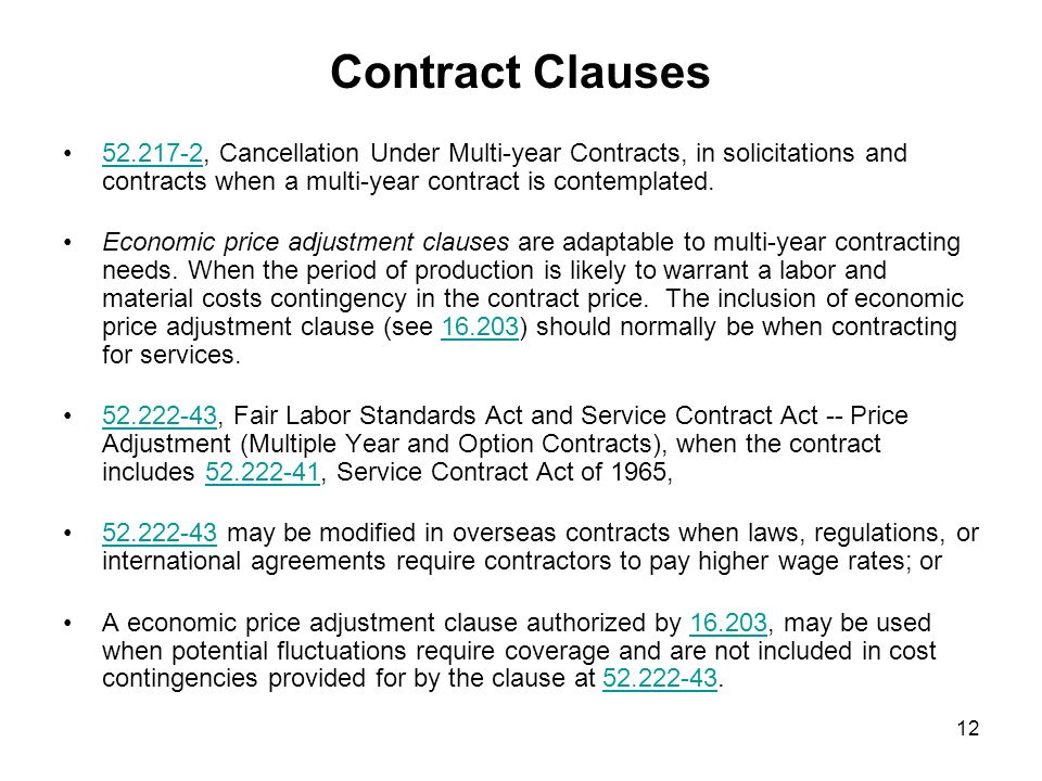 Use 'contract clause' in a Sentence