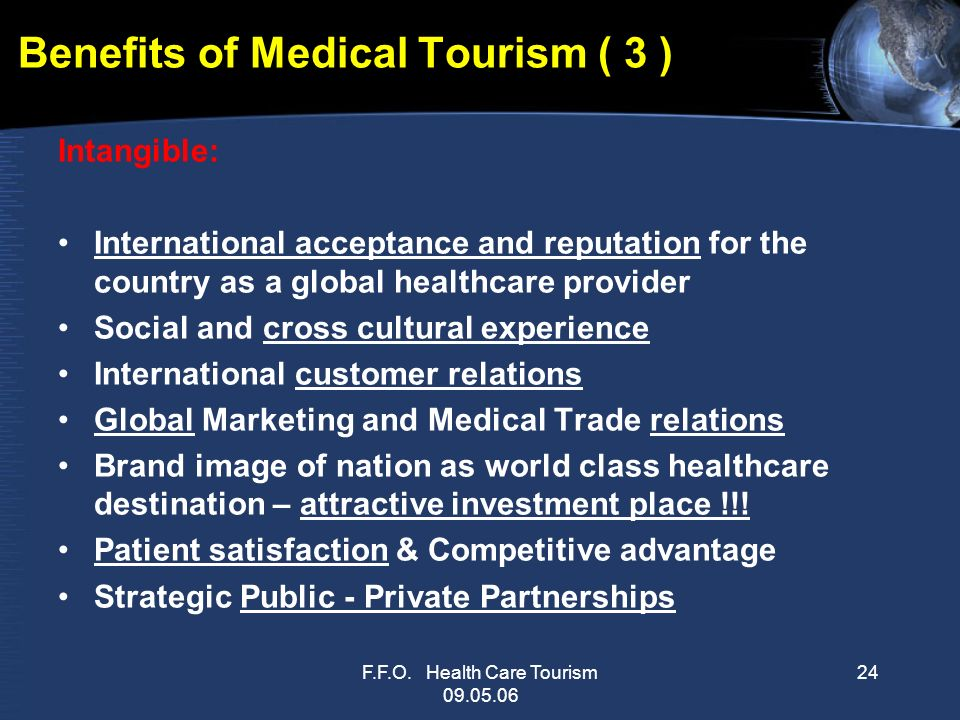 the benefits of medical tourism Medical tourism is the process of seeking and receiving your medical care abroad, instead of using your native services, but is it all worth the hassle.