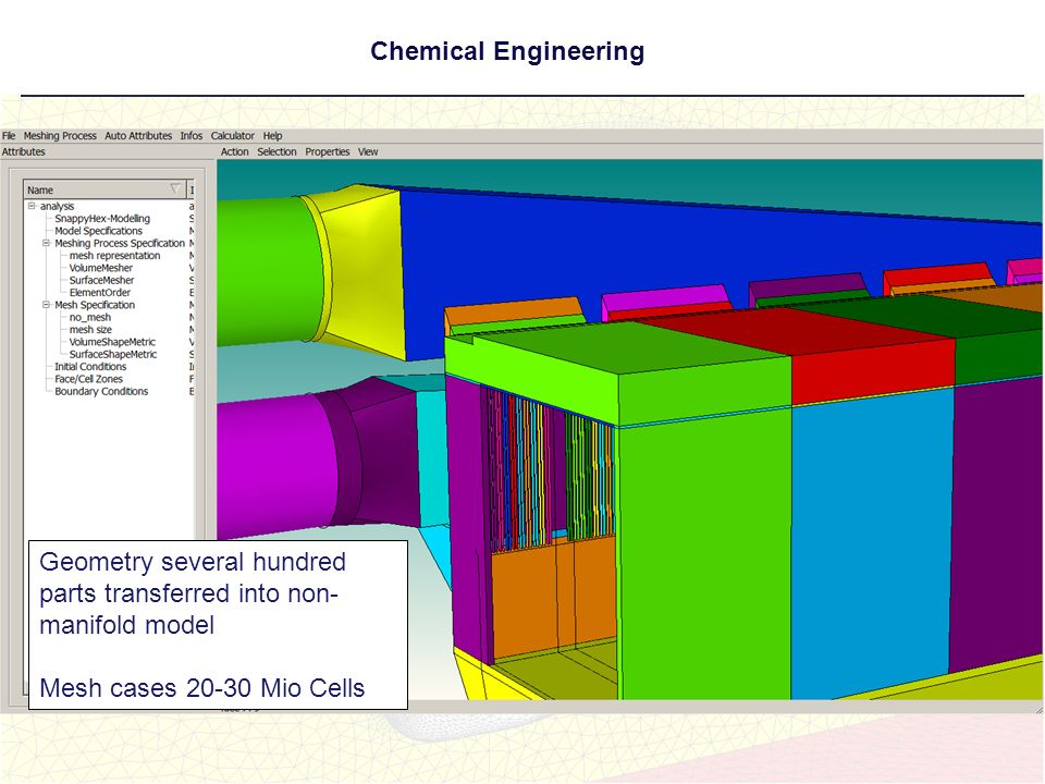 Chemical Engineering Geometry several hundred parts transferred into non-manifold model. Mesh cases 20-30 Mio Cells.