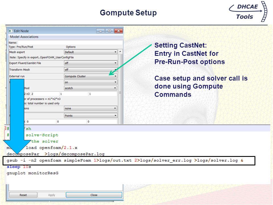 Gompute Setup Setting CastNet: Entry in CastNet for