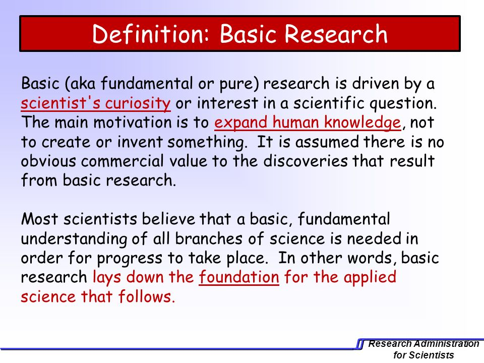 Use 'applied research' in a Sentence