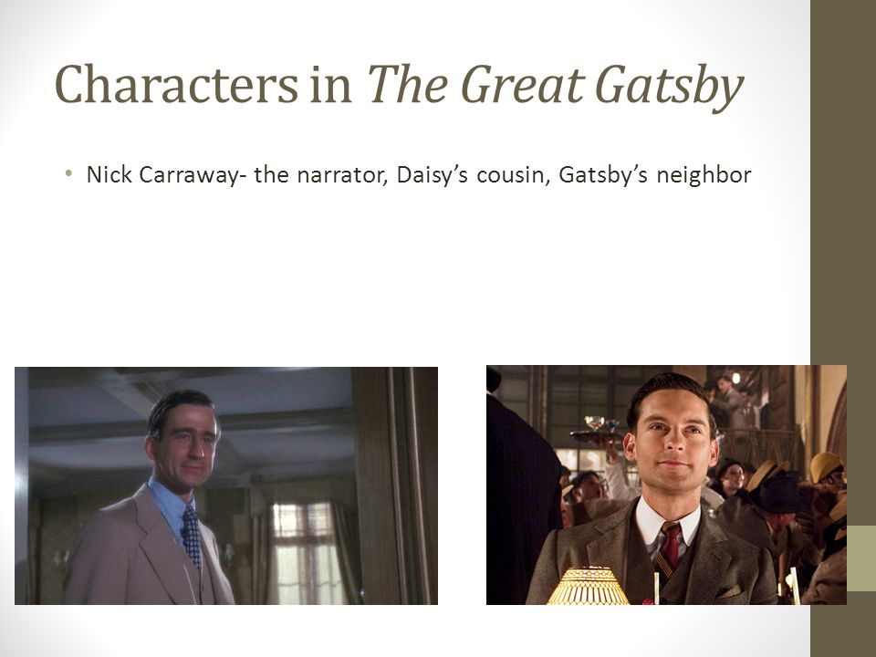 the prominent characters in the great gatsby by f scot fitzgerald The great gatsby by f scott fitzgerald  name to this book, was exempt from  my reaction—gatsby  my family have been prominent, well-to-do people in.