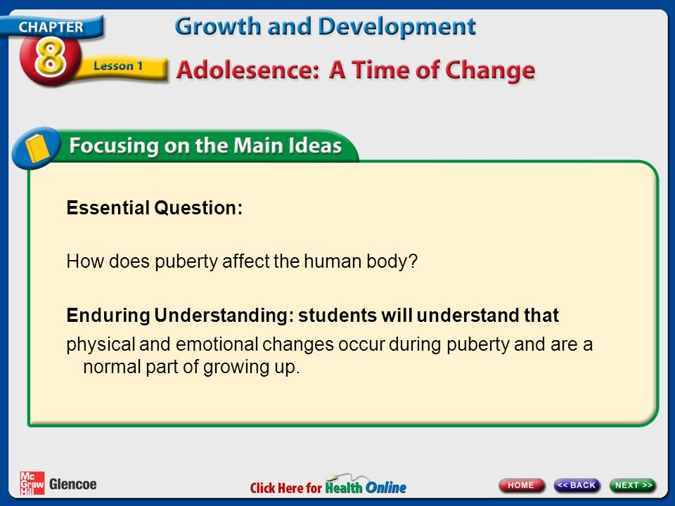Essential Question: How does puberty affect the human body Enduring Understanding: students will understand that.