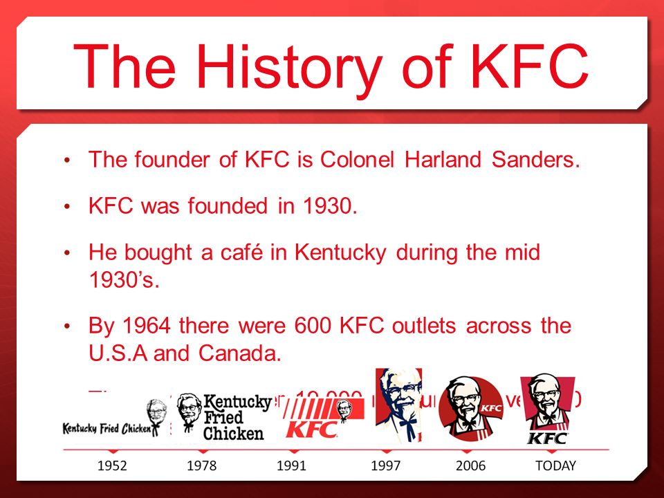 history of kfc Category: history which came first: my here, check out some of the history behind kentucky fried chicken kfc's zinger: the world-famous chicken sandwich is going to space in 1991, kentucky fried chicken decided on a name change to.