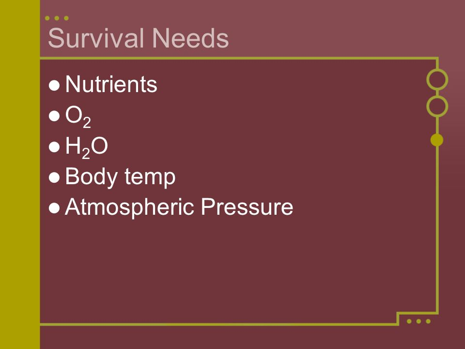 Survival Needs Nutrients O2 H2O Body temp Atmospheric Pressure