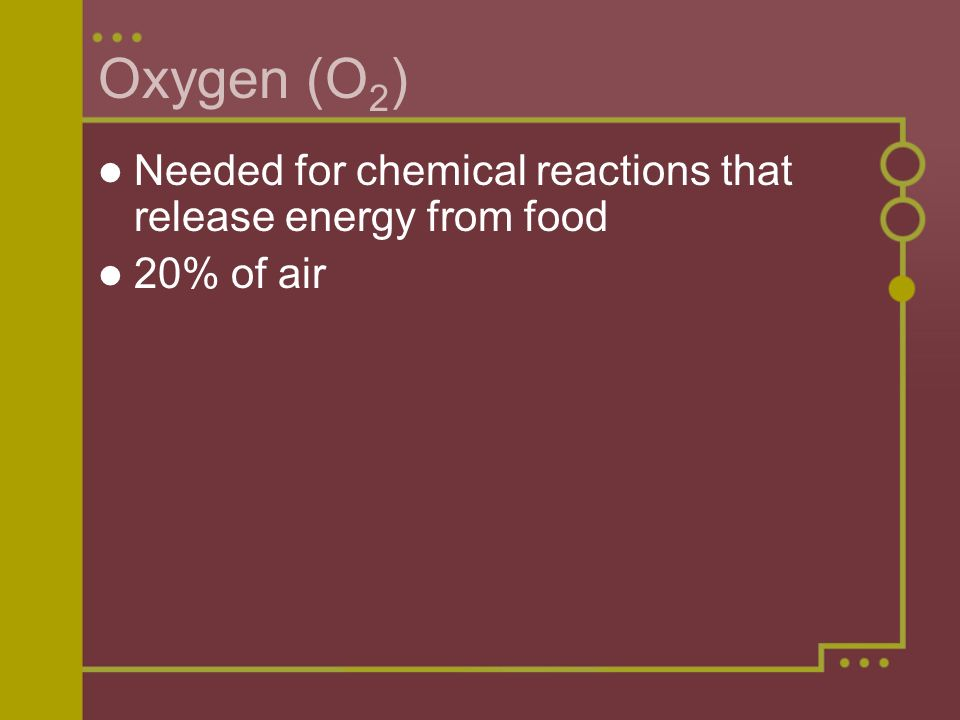 Oxygen (O2) Needed for chemical reactions that release energy from food 20% of air