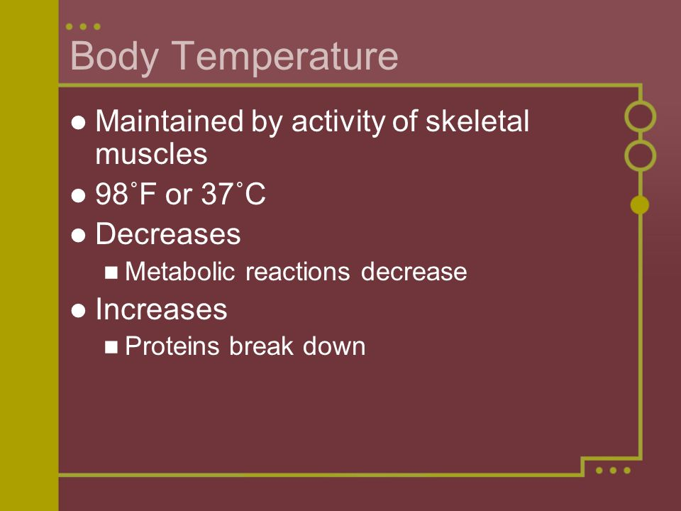 Body Temperature Maintained by activity of skeletal muscles