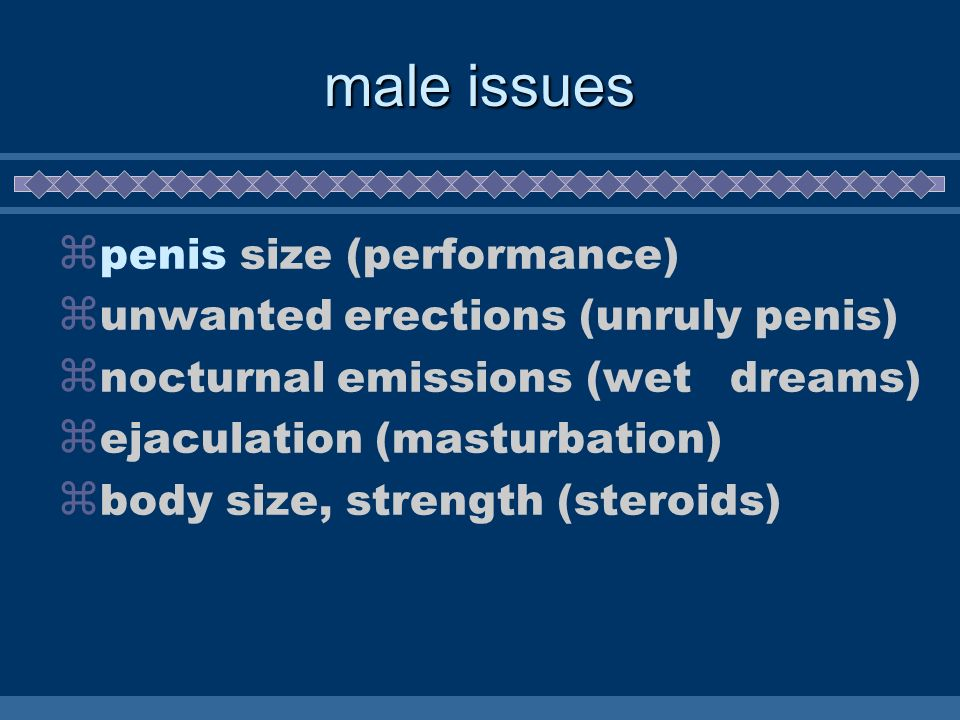 male issues penis size (performance) unwanted erections (unruly penis)