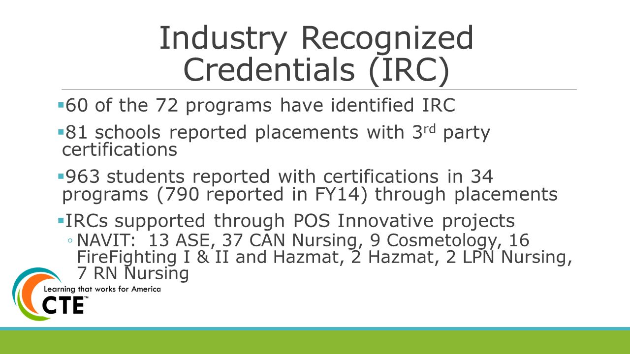 The state of cte in arizona ppt video online download 10 industry recognized credentials xflitez Image collections