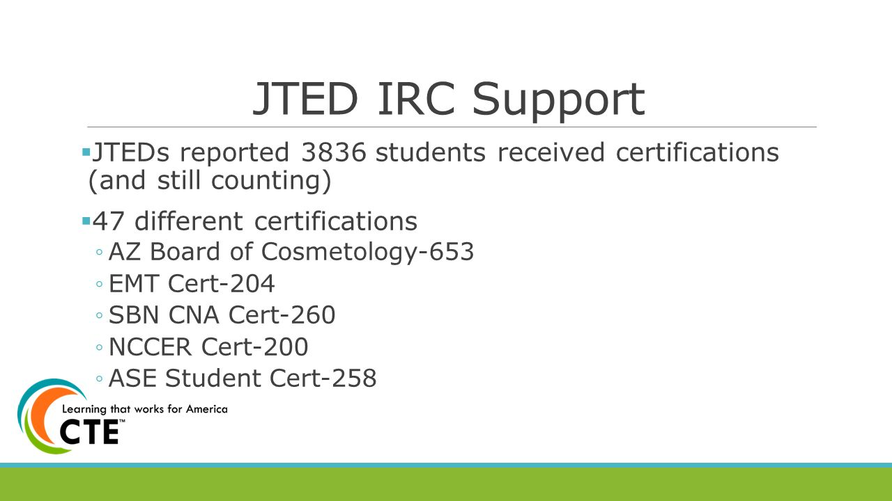 The state of cte in arizona ppt video online download jted irc support jteds reported 3836 students received certifications and still counting 47 different xflitez Images