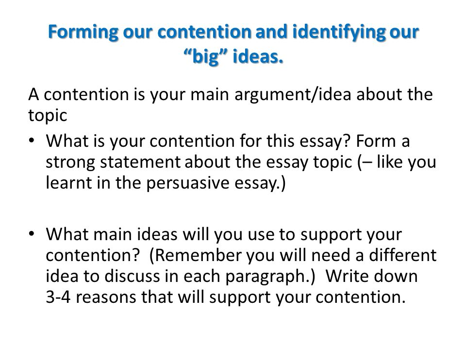 how to write a strong contention