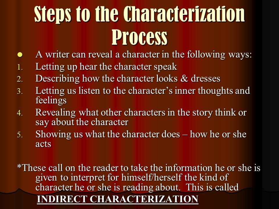 Steps to the Characterization Process