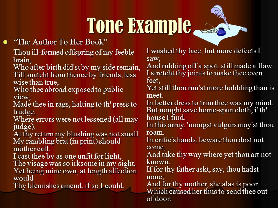 Tone Example The Author To Her Book